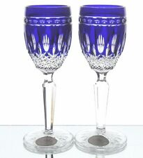 Ajka Clarendon Cobalt Blue Cut to Clear Crystal Wine Cordial Liqueurs New Signed