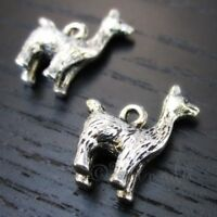 Llama Or Alpaca 18mm Antiqued Silver Plated Pendant Charms C8505 - 5, 10, 20PCs