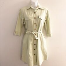 Pearl Southern Couture Womens Green Shirt Dress Button Front 3/4 Sleeves Size XS