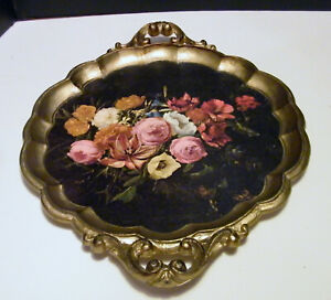 FLORENTINE ITALIAN TOLEWARE  FLORAL TRAY WITH HANDLES