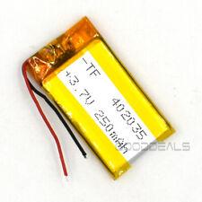 3.7V Lipo 250mAh 402035 Rechargeable Battery Lipo Cell For GPS Recorder Speaker