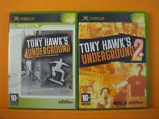 xbox TONY HAWKS x2 Games UNDERGROUND 1 + 2 Skateboarding PAL UK