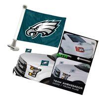 Philadelphia Eagles 4x6 Size Car Flag 2-pc Ambassador NFL Football Trunk Hood