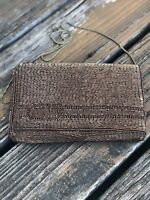 Vintage Delill Bronze Brown Beaded Purse Handbag Evening Bag Clutch 50s 60s