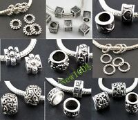 Lots For DIY Silver Spacer Beads Big Hole Fit for European Charms Bracelet New