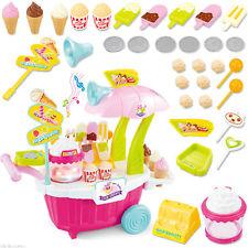 43Pcs Ice Cream Sweet Shop Cart Shop Toy Pretend Play Set with Music Kids Set UK