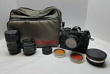Vintage Black Canon AE-1 35mm Camera w/Lenses, Power Winder, Data Back, Bag, ETC