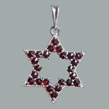 Bohemian Rose Cut Garnet Sterling Silver Star of David Pendant SP-207 Certificat