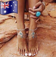 1 Turquoise Anklet Gypsy Bohemian Silver Foot Bracelet Boho Beach Jewellery NEW