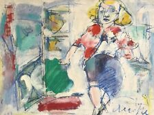 WALTER FIRPO (1903 - 2002) FINE SIGNED FRENCH ABSTRACT OIL - PORTRAIT OF LADY