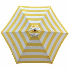 9ft Patio Replacement Umbrella Canopy Cover Top 6 Ribs Yellow Cabana Stripe