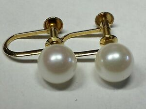 Solid 18kt Yellow Gold 6.5mm Saltwater Pearl Screw back (non pierced) Earrings