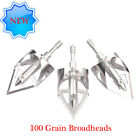3 Pack Archery Broadheads 100 Grain Bowhunting Arrow Head for  Crossbows Bow