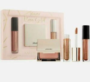 New Jouer Rose Gold Collection Powder Highlighter Lip Topper Long Wear Creme Set