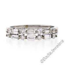 18k White Gold 0.54ctw Alternating Baguette & Round Diamond 2 Row Dual Band Ring