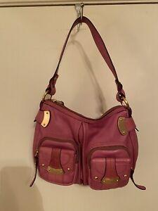 B Makowsky A91472 Pink Pebbled Leather Shoulder Purse/Handbag Pre-Owned