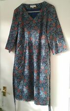 Women's Size 14 SEASALT Blue/Multi 100% Cotton Needlecord Floral 'Penlee' Dress
