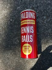 Vintage 1960's Spalding Championship tennis Balls Canister. Red Can