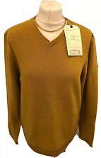 WhiteStuff Small 8 / 10 Honey Mustard V Neck Jumper Sweater Lambswool Blend NWT