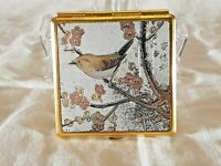 VTG RARE Compact Mirror Decorated in the Art of Chokin Bird Design Made in Japan