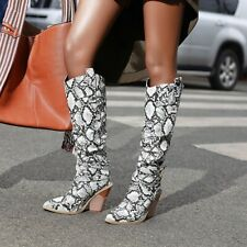 Womens Snakeskin High Chunky Heel Pointed toe Sexy Knee High Boots Party Shoes