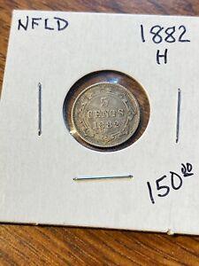 1882H NEWFOUNDLAND 5 CENTS..NICE VF..