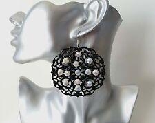 Gorgeous large black filigree & AB diamante rhinestone disc drop earrings * NEW*
