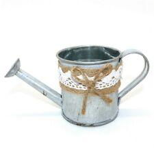 Rustic Mini Tin Watering Can Planter, Metal Flower Pot Garden Bucket Decorations