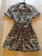 NWOT CALVIN KLEIN IVORY BROWN BUTTON UP DRESS SIZE 2 S