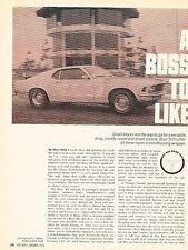 1970 Ford Mustang Boss 302 Original Car Review Print Article J583