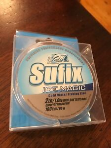 CS8- Sufix Ice Magic cold water fishing line 2 lb test 100 yards clear