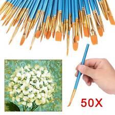 50 tlg Set Pinsel Set Künstlerpinsel Malpinsel Flach Acryl Aquarell Ölfarbe