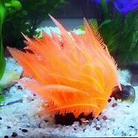 Aquarium Artificial Fake Plastic Orange Coral Plant Fish Tank Decor Ornam F0B7