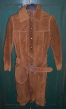 Vintage Women's Long Brown Suede Leather Jacket