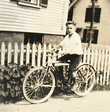 Vintage Early Snapshot Photo of Boy Riding His Bicycle Bike