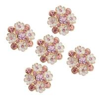 5 Piece Flower Rhinestone Shank Buttons for Sewing Crafting 23mm