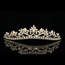 Gold Bridal Prom Wedding Rhinestone Crystal Pearl Crown Tiara V760
