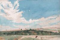 HORSE IN ENGLISH FARM LANDSCAPE Antique Watercolour Painting c1930 IMPRESSIONIST