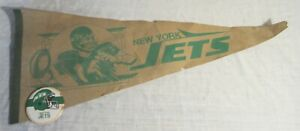 Vintage NEW YORK JETS Pennant & Pin -- 1980's Logo, Quarterback No. 14