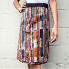 Guatemalan Handmade Colorful Wrap Skirts One Size Huipil Boho Style Mayan Mid