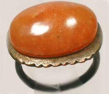 Ad300 Ancient Roman Pannonia (Hungary) Ring Sz5+ Antique19thC 10ct Orange Agate