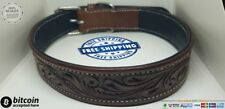 LEATHER DOG COLLAR HANDMADE BROWN PATTERN ADJUSTABLE SAFETY PET STRONG