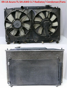 ✅ 2009-2014 Acura TL 3.7L SH-AWD Radiator Condenser Cooling Fans Complete OEM 09