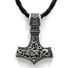 Thor Hammer Halskette Lederkette Anhänger Edelstahl Mjölnir Rabe Hugin Vikings