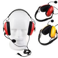 PTT Earmuff Headset Foldable Mic For Kenwood Baofeng Two Way Radio Walkie Talkie