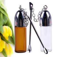 5pcs 5ML Glass Snuff Bottle Metal Spoon Snorting Snuff Dispenser Bullet Snorter