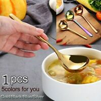 Soup Spoons Stainless Steel Tableware Asian Dinner Round Serving Kitchen Cooking