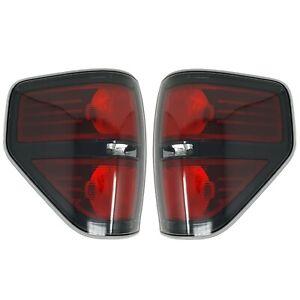09 thru 14 Ford F-150 SVT Raptor Left & Right Black Tail Lights w/ Light Bulb(s)
