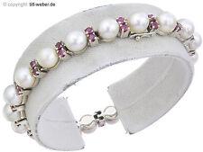 """Armband """"Perlen und Rubine"""" 585er Weißgold"""
