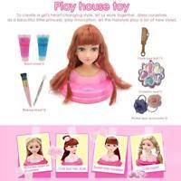 Kids Dressing Table Pretend Play Toy Set Girls Makeup Vanity Desk Weave Plaits